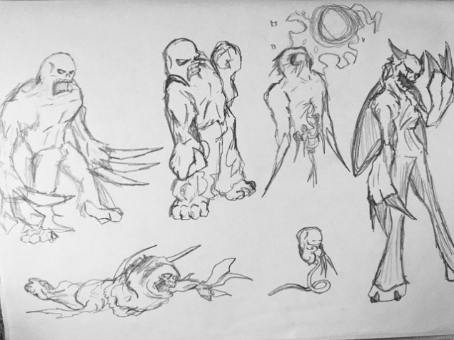 Concepts for varying types of Super Human enemies in the Bloodfest video game (2002).